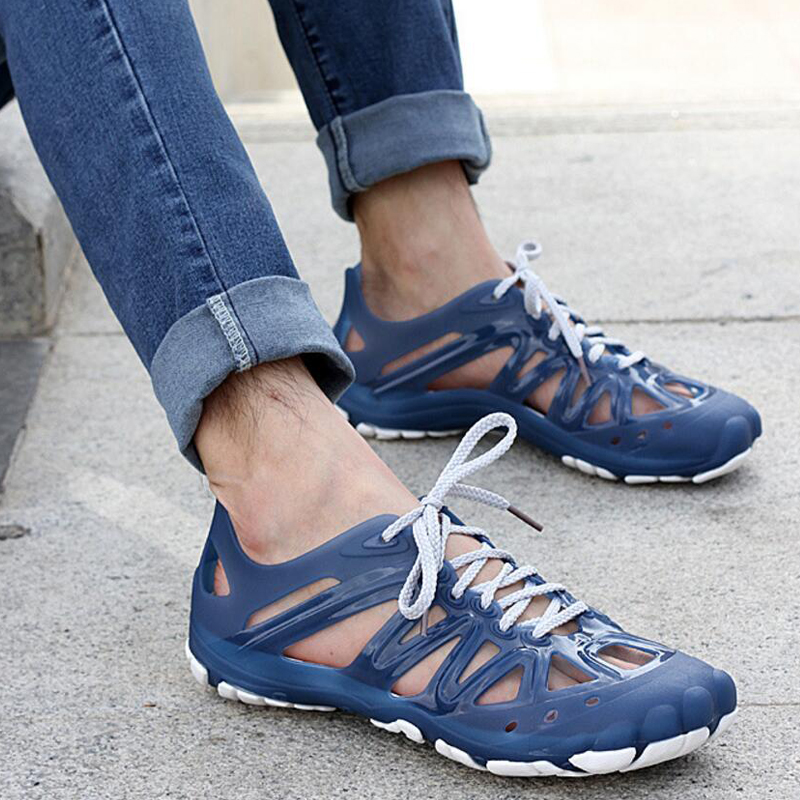 Male Hombre Casual Wade Sandals Jelly Shoes Fashion Cool Holey Summer Men Man Slippers Lace Up Sandal Walking Travels Shoes T677 ...
