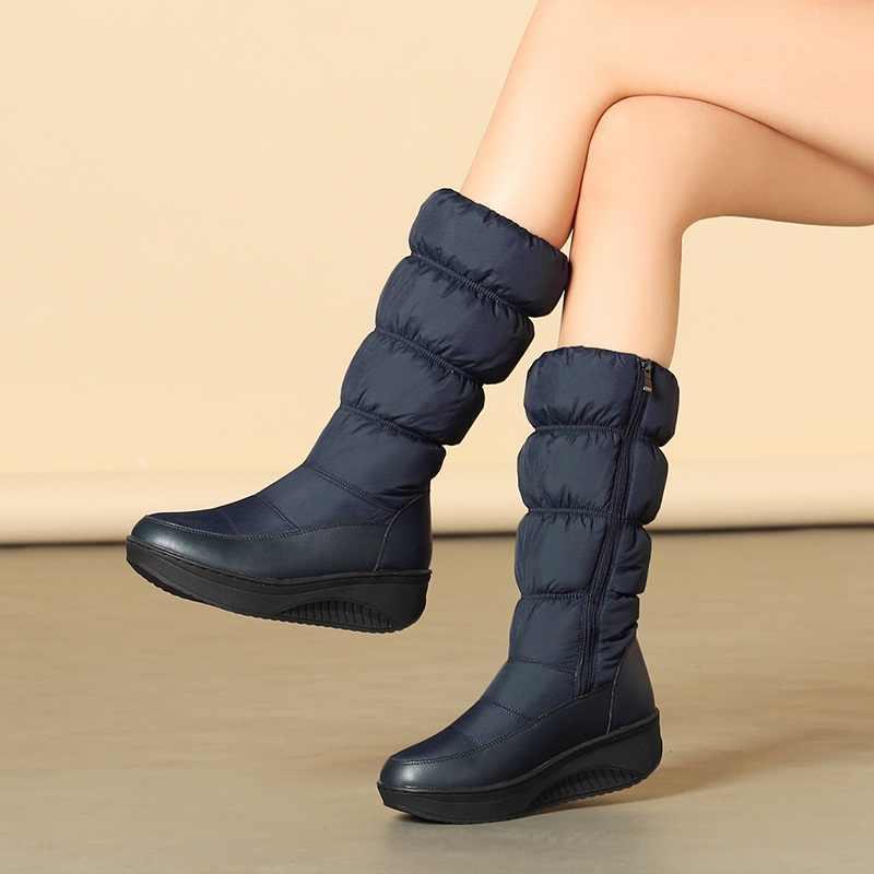 EGONERY Süper sıcak moda kar botları kadın kış ayakkabı dış orta buzağı topuklu ayakkabılar bayanlar platform topuklu fermuar ayakkabı