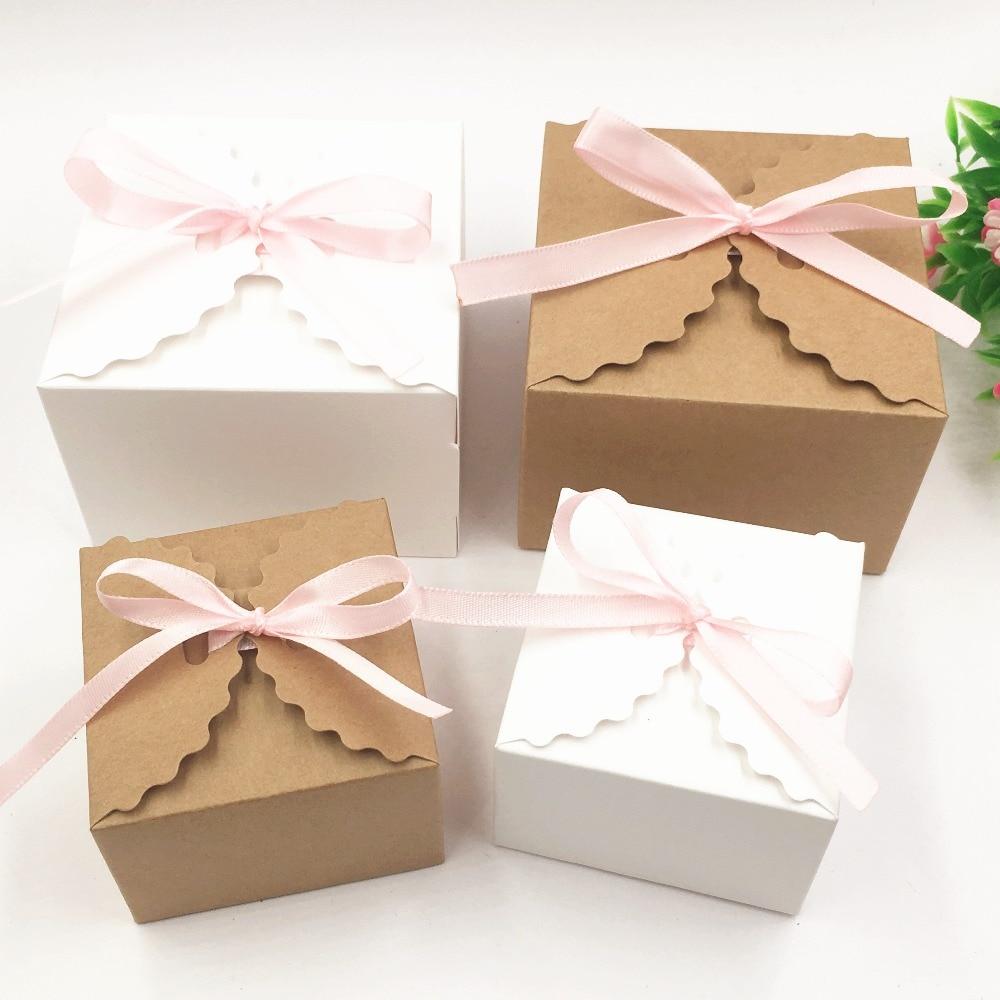 20pcs DIY paper box with window white//black//kraft paper Gift box cake Packaging