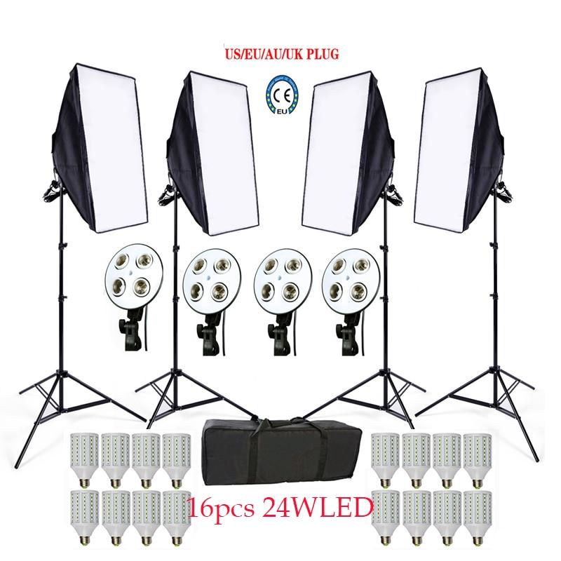 Russian Free 16 LED Photo Studio Softbox kit 4 light stand 4 light holder 4 softbox