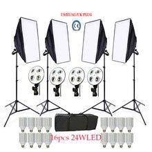 Русский Бесплатная 16 LED фотостудия Softbox Комплект 4 Свет Стенд 4 свет держатель 4 софтбокс 1 шт. сумка для переноски видео комплект освещения софтбокс