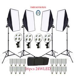 Russian Free 16 LED Photo Studio Softbox kit 4 light stand 4 light holder 4 softbox 1pc carrying bag video lighting kit soft box