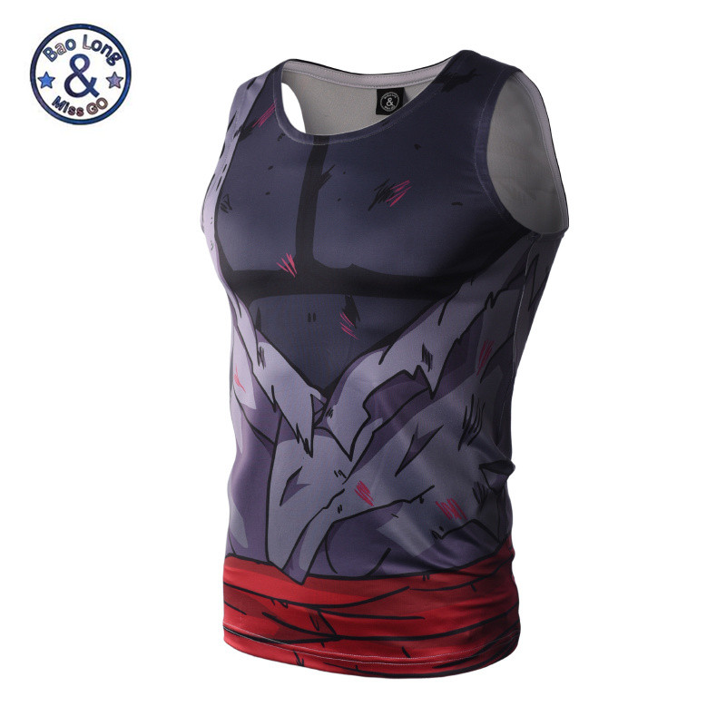 Men 3D Animation Compression Shirt Tight Fitting Dragon Ball Naruto   Tank     Tops   Summer Sleeveless Tee shirt Bodybuilding
