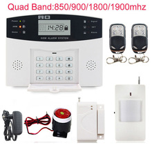 LCD display wireless Home Security GSM Alarm system Russian and English Spanish French voice SMS and door sensor Free shipping