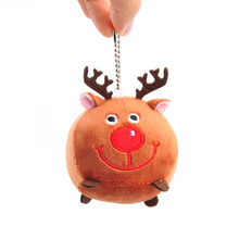Santa Claus Plush Fawn Anime Around Toy Keychain Bag Pendant Elk Doll Grab Machine Bead Chain Christmas Gift