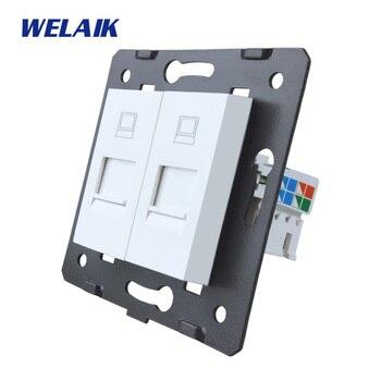 WELAIK AB Standart Iki Bilgisayar Soket DIY Parçaları Beyaz Duvar Cam Panel A82COW Olmadan Iki Bilgisayar Soket parçaları/B