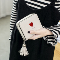 Famous Brand Fashion Leather Women Short Small Wallet Cute Kids Mini Coin Purse Girl Kwaii Tassels