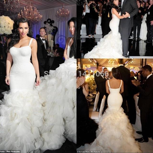 Custom Kim Kardashian Mermaid Wedding Dress 2017 Y White Satin Bodice Cascading Ruffles Organza Long Train