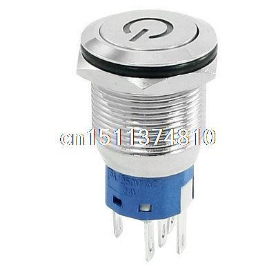 Blue LED Light 24V Latching Metal Flat Button Switch 1NO 1NC AC 250V 5ABlue LED Light 24V Latching Metal Flat Button Switch 1NO 1NC AC 250V 5A