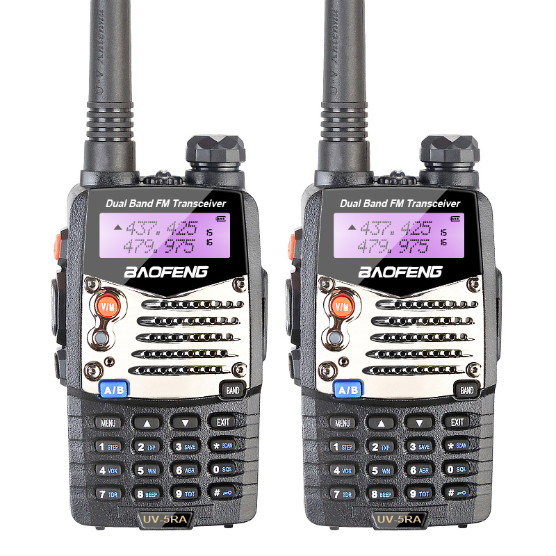 2PCS New Walkie Talkie Baofeng UV 5RA For Police Scanner Radio VHF UHF Dual Band Ham