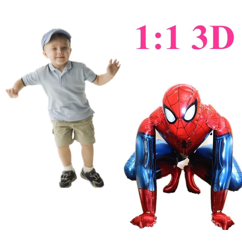 120cm 3D large Size Spider-man Iron man Mermaid Elsa Foil Balloons toy Cartoon Inflatable Air Ballons toys birthday party стоимость