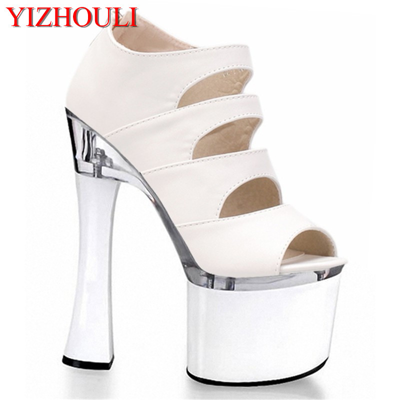 Sexy fish mouth hollow out 18cm high stiletto sandals with white wedding bride shoes fashion runways for women's shoes denim zipper hollow worn stiletto womens sandals