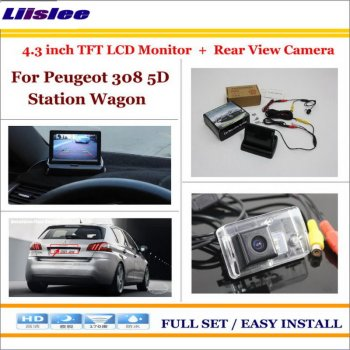 "Liislee For Peugeot 308 5D Station Wagon - In Car 4.3"" Color LCD Monitor + Car Rear Back Up Camera = 2 in 1 Park Parking System"
