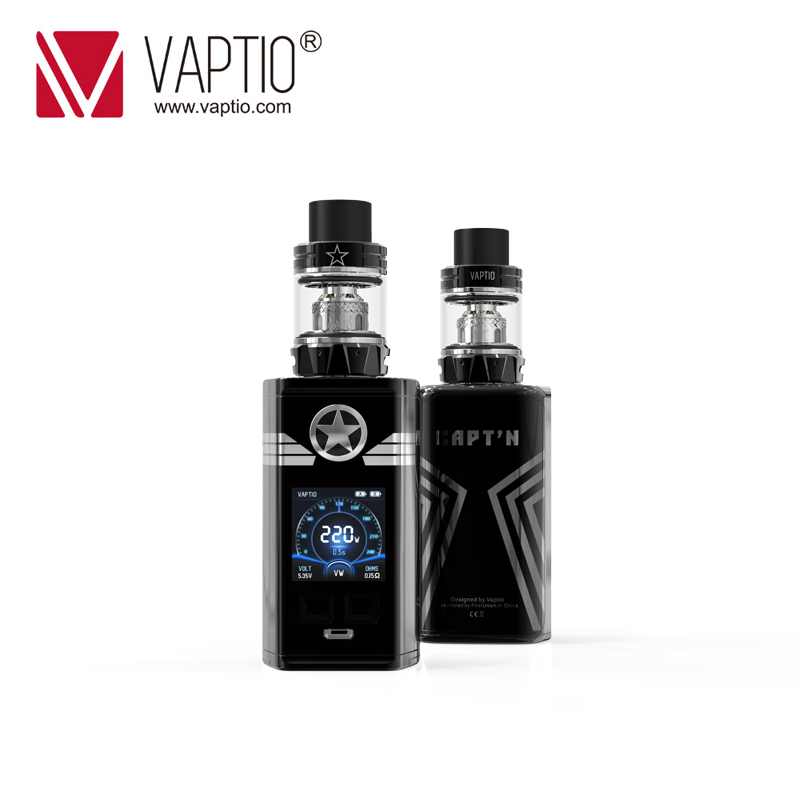 Authentic Electronic Cigarette Vaptio CAPTN Kit 2.0ml/4.0ml AtomizerTop filling with 220w box mod Fitted TFV8 Baby/TFV12 Tank Authentic Electronic Cigarette Vaptio CAPTN Kit 2.0ml/4.0ml AtomizerTop filling with 220w box mod Fitted TFV8 Baby/TFV12 Tank