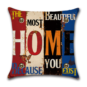 Image 5 - Mediterranean Punk Letters Printed Linen Cushion Cover for Bar Restaurant Living Room Home Kitchen Chair Decorative Pillows Case