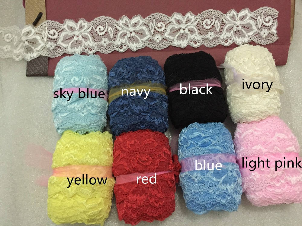 bedbfe2b100e4 US $55.35 |Hot selling! 50mm 5cm wide 50meters white, black, ivory, light  pink, blue, yellow red elastic stretchy lace , cotton thick lace,-in Lace  ...
