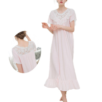 UNLIMON Womens Palace Retro Nighties 100 Cotton Nightdress Princess Vintage Long Nightgown Pink Summer Home Dress