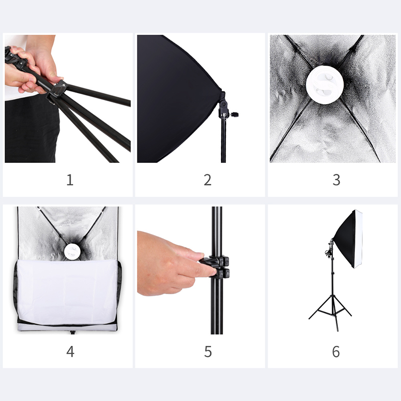 Image 4 - Professional Photography Lighting Equipment Kit with Softbox Soft Umbrella background stand Backdrops Light Bulbs Photo Studio-in Photo Studio Accessories from Consumer Electronics