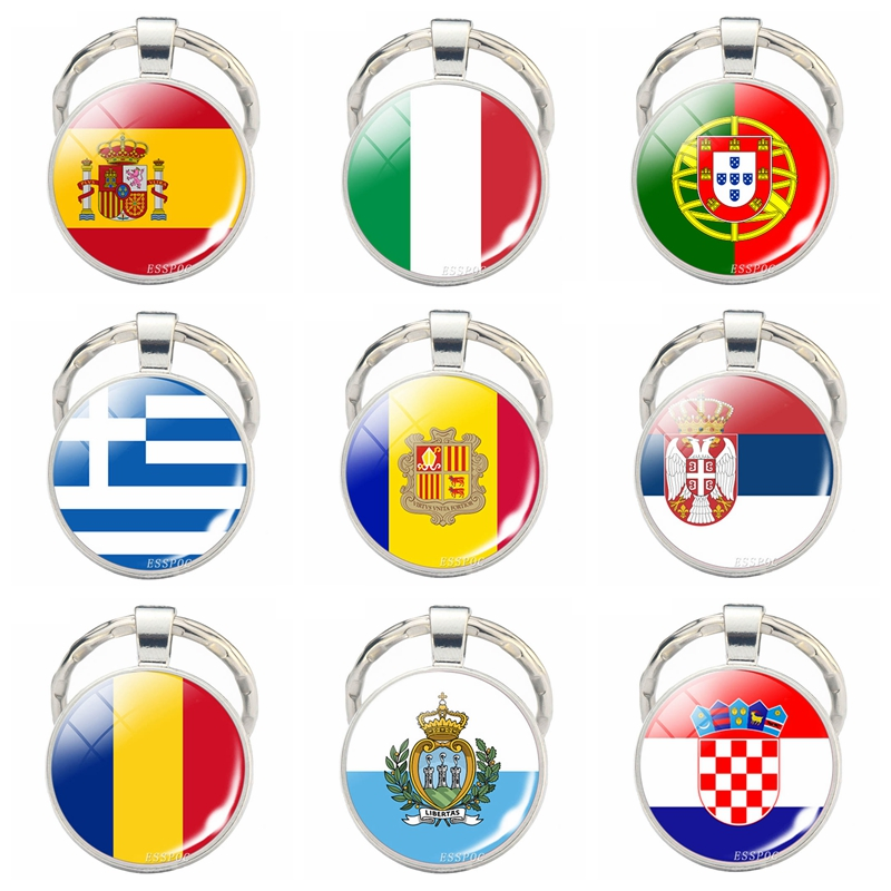Countries Flag Keychain Spain Italy Portugal Greece Romania Croatia Andorra Flag Picture Glass Cabochon Key Chain Gifts