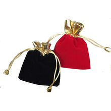 7*9cm Red Black Flannelette Golden Opening Beads Organza Drawstring Pouch/Jewelry Packing Bag Storage Christmas/Wedding Gift