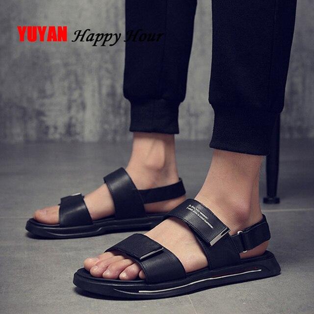 Genuine Leather Shoes Men Sandals 2019 Summer Beach Sandals Male Shoes Fashion Cow Leather Man Sandals Black White KA1234
