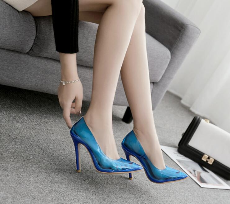 pointed sexy Shallow mouth transparent pvc summer crystal thin high heels ladies women pumps zapatos mujer shoes sandals  C02134