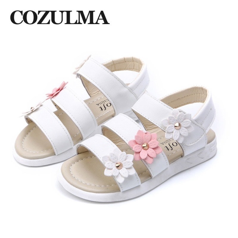 COZULMA Summer Girls Sandals Children Flower Shoes Toddler Kids Girls Princess Beach Sandals Roman Kids Sandals Size 21-36