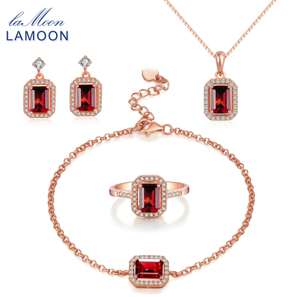 LAMOON Sterling Silver 925 Jewelry Sets Garnet Gemstone Rose Gold Plated Fine Jewelry Sets S925 Fine Jewelry For Women V011-1