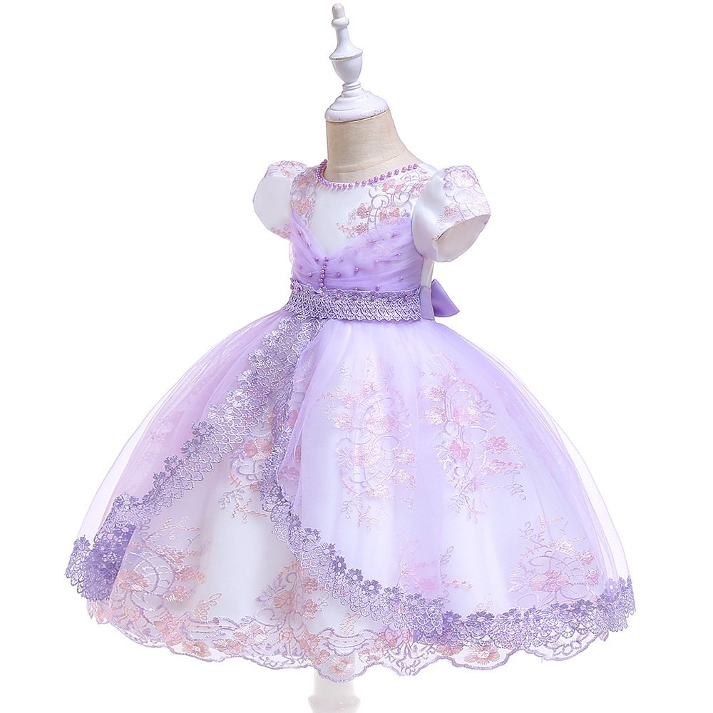 Lace Purple   Flower     Girl     Dresses   2019 Sleeveless Soft Tulle Ball Gown Pageant   Dresses   For   Girls   Communion   Dresses