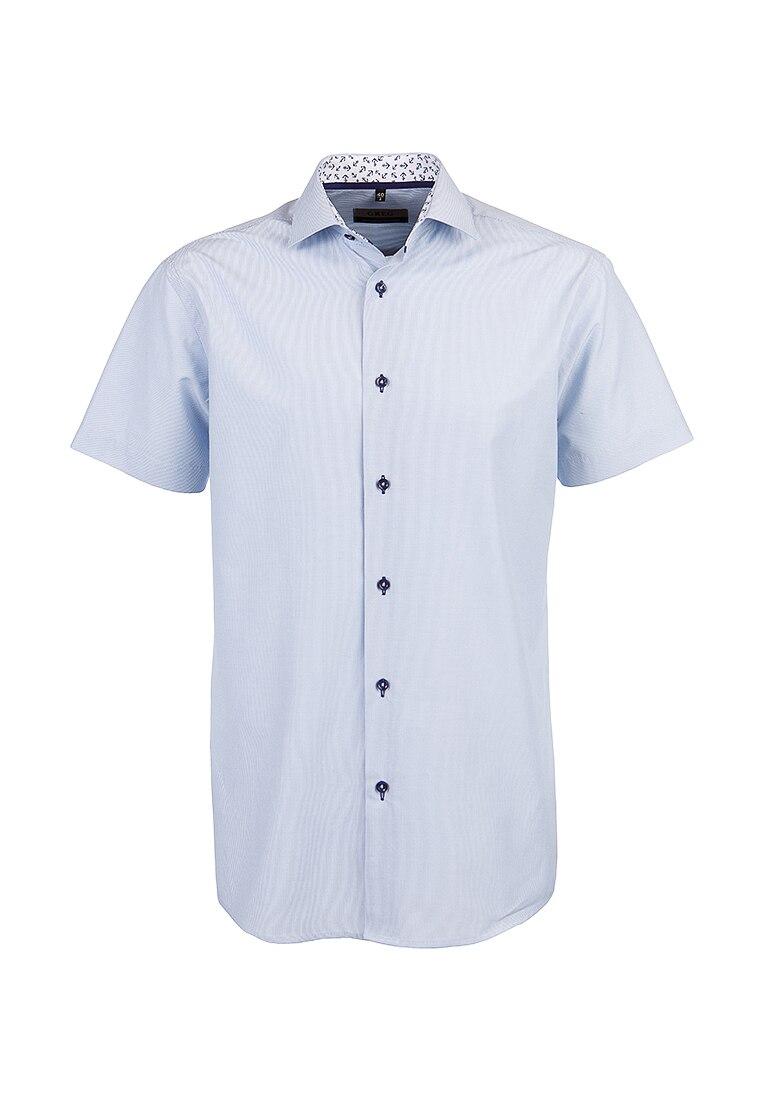 Shirt men's short sleeve GREG 121/109/144/Z/1 Blue v neck flower and bird print plus size short sleeve men s t shirt