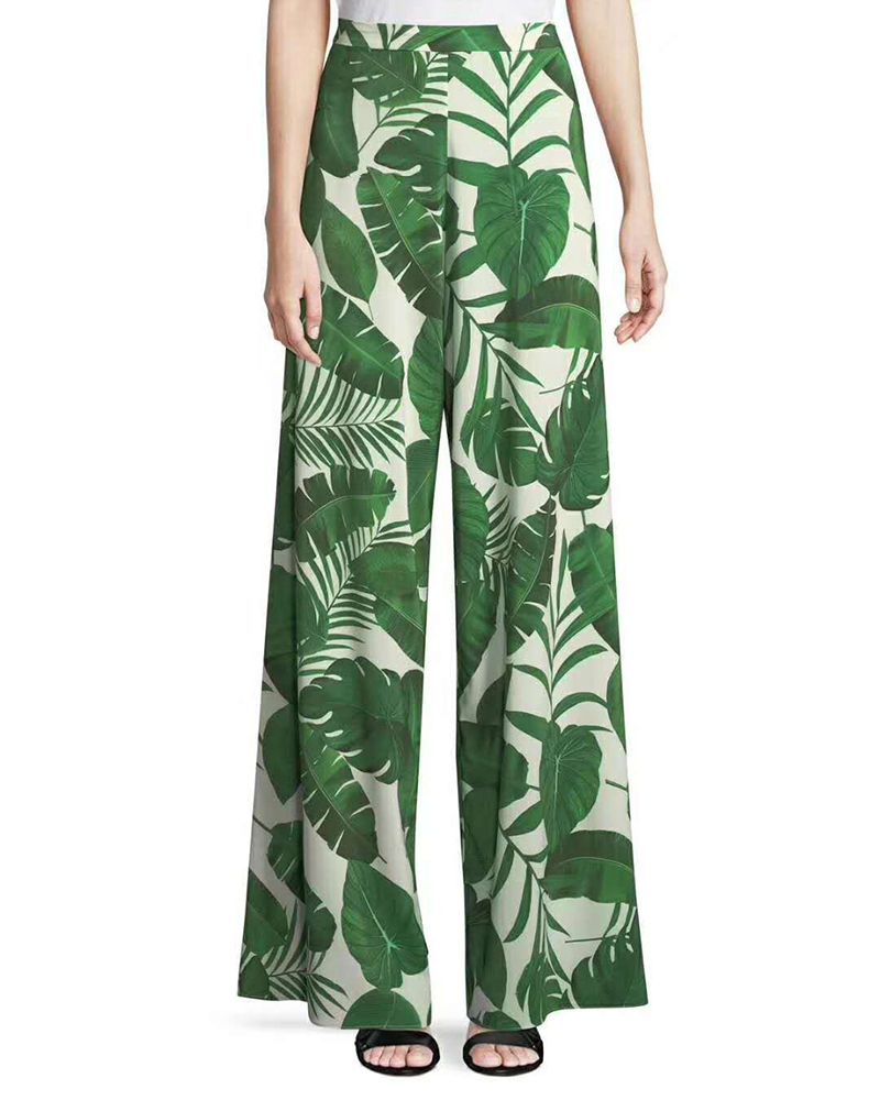 4419c9e2b1 Fashion 2018 Hot Sale Ladies Tropical Palm Leaf Print Loose Fit Wide Leg  Pants Women Stylish Beach Resort Wear Trousers-in Pants & Capris from  Women's ...
