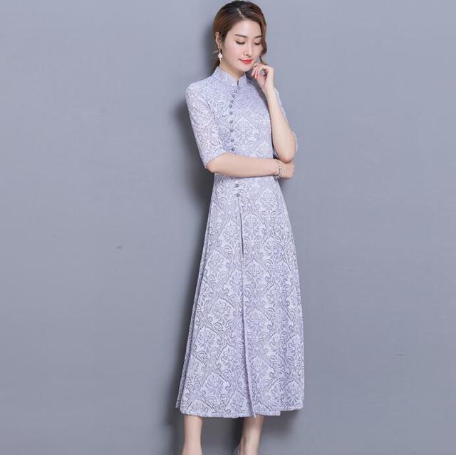 2018 winter women elegant retro chinese traditional dress silk cotton cheongsam female lady wedding casual design qipao