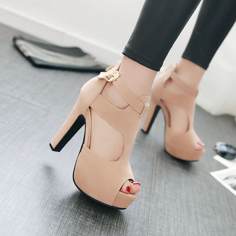 2016 summer new Europea suede nightclub thin high heels peep toe pumps with buckle platform sandals girls hollow out sexy shoes