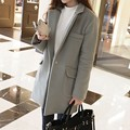 Winter Women Wool Coats 2017 New Fashion Office Ladies Suit Cardigans Tops Female Large Lapel Long Sleeve Outwear Poncho Coats