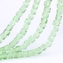 Olingart quadrado 3/4/6/8mm áustria grânulos de cristal charme grânulos de vidro cor verde solto espaçador grânulo para fazer jóias diy