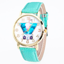 Style Development Younger Flamingo Leather-based Watch Geneva Informal Multicolor Ladies and Males Quartz Watches Free Transport AAW050