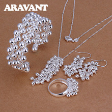 Women Jewelry Set 925 Silver Fashion Dangle Grapes Beads Necklace Bracelet Ring Drop Earrings For Women Wedding Gifts цена в Москве и Питере
