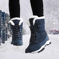 Женские ботинки; теплая женская обувь; Зимние непромокаемые зимние ботинки; плюшевые ботильоны на толстой подошве; ботинки на платформе; botas...