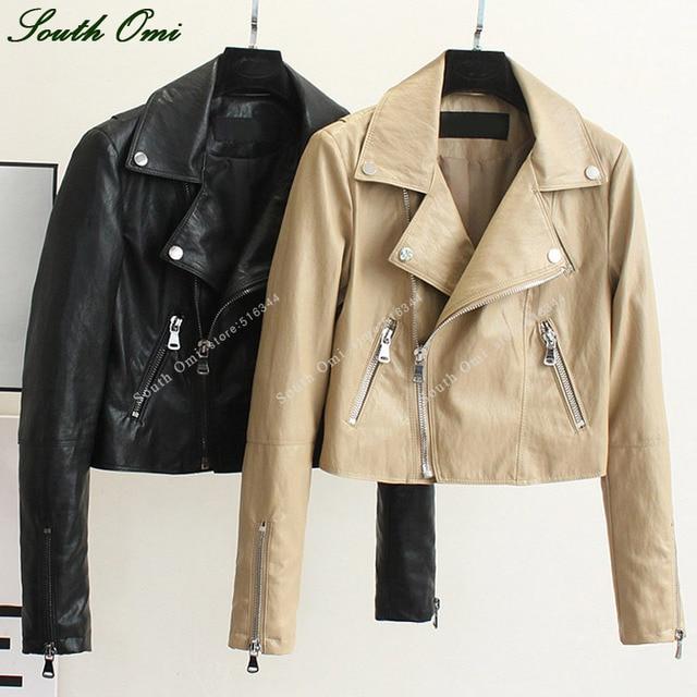 Chameau En Cuir Veste Femmes Noir En Cuir Veste Zip Manteaux chaqueta  Blazer PU Punk Jack 91534ff9c84