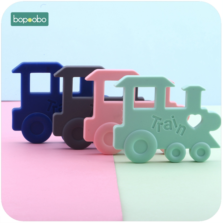 Bopoobo Silicone Teething Train Shape Orginal 1pc Teether Pendant Nursing Necklace Charms Baby Shower Gift Baby Teether