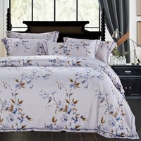 TUTUBIRD Purple Blue Floral Vintage Style Luxury Soft Tencel Ramie Satin Silk Feel Bedding Set Bedlinen