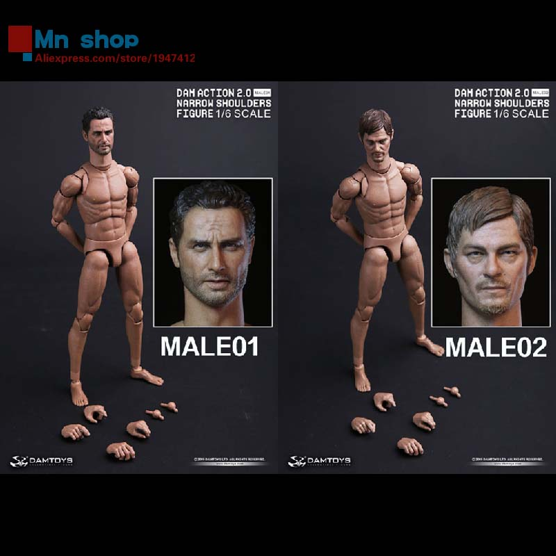 ФОТО 1: 6 DAM 2.0 Narrow Shoulders Movable Ferrite MALE01 MALE02 with The Walking Dead Sheriffs Crossbow Man Head Carving