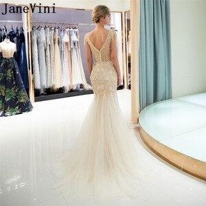 Image 3 - JaneVini Luxe Gold Lange Prom Dresses 2019 Kralen Crystal Mermaid Gala Avondjurk jurk lang Steentjes Parel Partij Jassen