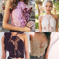 Women Elegant Lace Crop Top Summer Backless Halter Beach Short Tops Sexy Party Camis Gauze Metallic