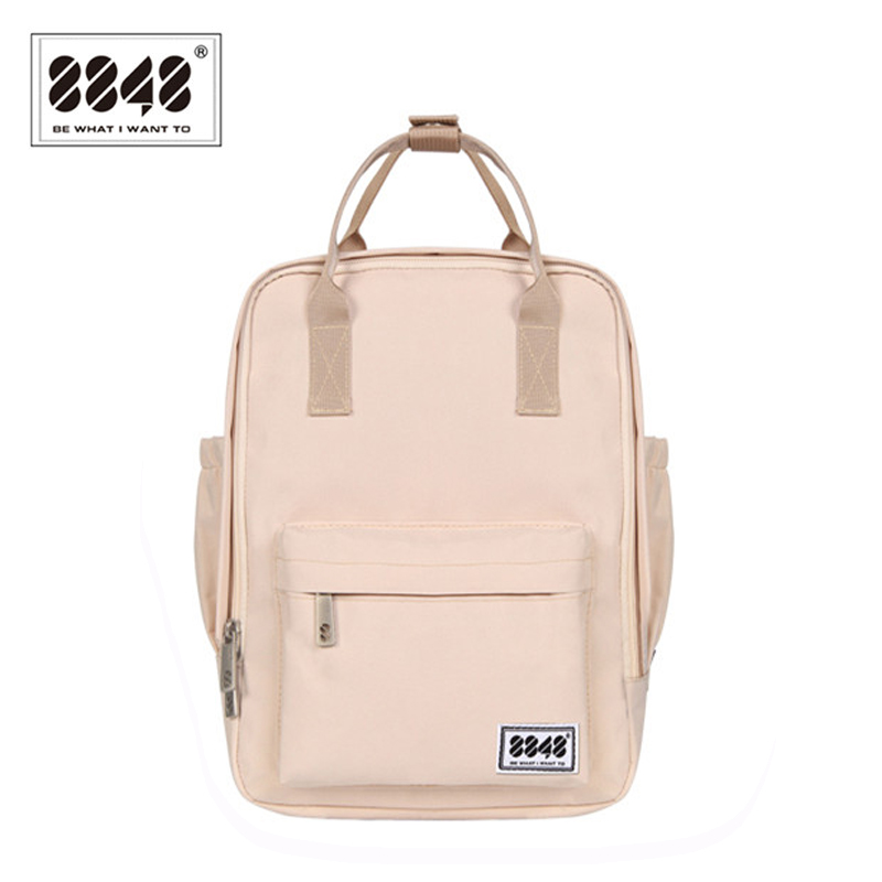 8848 Brand Backpack For Women Schoolbags For College Student Waterproof Oxford Fashion Light Pink Solid Knapsack 003-008-001 2017 new national wind aslant handbag embroidered flowers small square bag rivet shoulder bag