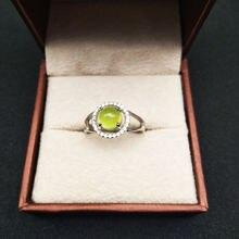 925 Серебряные кольца natuarl prehnite для девушек модные ювелирные
