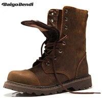 Лидер продаж! Мужские ботинки до середины икры из натуральной кожи, с круглым носком, на шнуровке, рабочие ботинки для верховой езды, мужские...