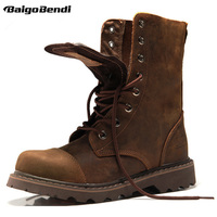 New Fashion Genuine Leather Mens Round Toe Lace Up Mid Calf Martin Boots Work Safety Soldiers