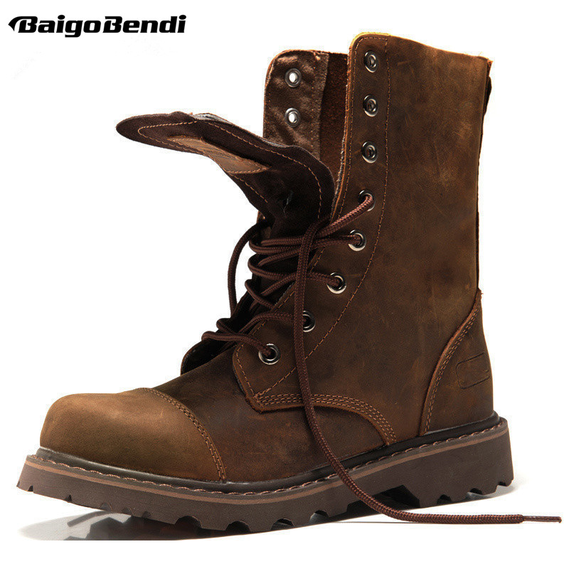 HOT! Genuine Leather Mens Round Toe Lace Up Mid-calf Boots Work Safety Soldiers Ridding Boots Man Winter Snow Boots