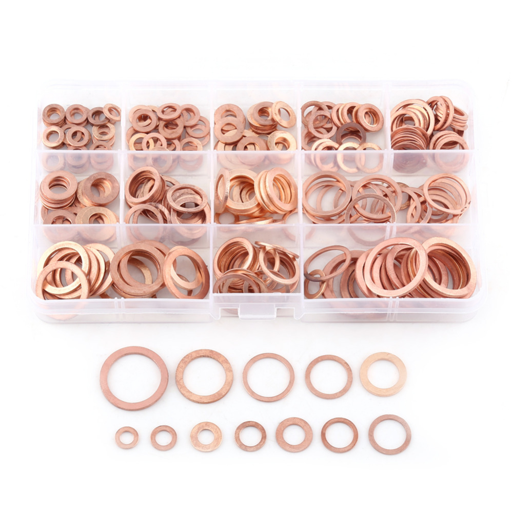 280pcs Professional Assorted Copper Washer Gasket Set Flat Ring Seal Assortment Kit 12 Sizes M5-M20 For Hardware Accessories